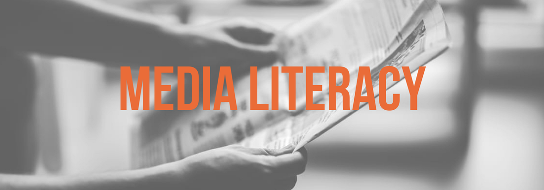 Picture of hands holding a newspaper with the words Media Literacy in bold text